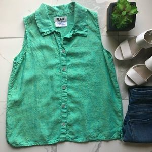 Flax Green Button Down Collared Top